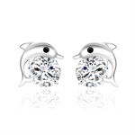 VENI MASEE® Dolphins Rhinestone Stud Earrings, Stud Earrings, 925 Sterling Silver, Gift Ideas