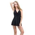 AYOZEN Perfect Pure Black Color Slim Belly & Waist Cover One Piece Swimsuit