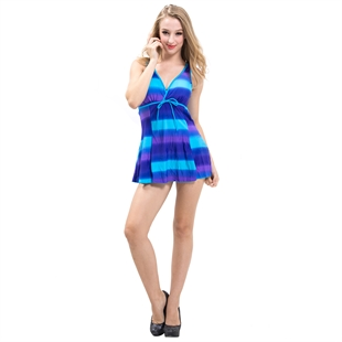 AYOZEN Perfect Blue Stripe Slim Belly & Waist Cover One Piece Swimsuit