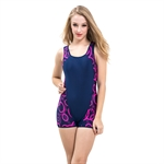 HOTER® Ladies One Piece Swimming Costume Swimsuits - Hotpink Dots, UK Size 12, 14, 16