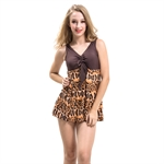 HOTER® Perfect Belly & Waist Cover Sexy Leopard Women's One Piece  Swimsuits - Brown, UK Size 16, 18, 20