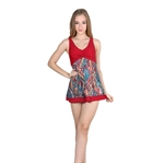 VENI MASEE&Reg; Womens Waist Cover & Bodyline Best Shown Flower Printing One-Piece Swimsuit