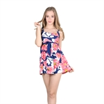 VENI MASEE&Reg; Womens Waist Cover & Body Slim Flower Printing One-Piece Swimsuit