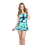 VENI MASEE&Reg; Slim & Waist Cover Green Flower Printing One-Piece Swimsuit