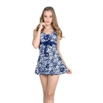 VENI MASEE&Reg; Womens Waist Cover Flower One-Piece Swimsuit