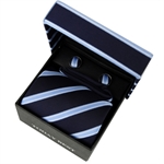 TODAYBEST®10CM Luxury Mens Business Matching Blue Stripe Tie Handkerchief & Cuff Link Boxed Gift Set Set T026