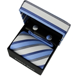 TODAYBEST®10CM Luxury Mens Business Matching Skyblue Stripe Tie Handkerchief & Cuff Link Boxed Gift Set Set CO03
