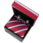 TODAYBEST®10CM Luxury Mens Business Matching Red Stripe Tie Handkerchief & Cuff Link Boxed Gift Set Set TO29
