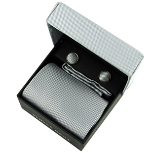 TODAYBEST®10CM Luxury Mens Business Matching Grey Tie Handkerchief & Cuff Link Boxed Gift Set Set CO07