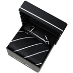 TODAYBEST®10CM Luxury Mens Business Matching Black Stripe Tie Handkerchief & Cuff Link Boxed Gift Set Set C064