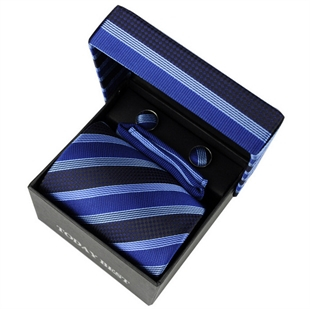 TODAYBEST®10CM Luxury Mens Business Matching Blue Stripe Tie Handkerchief & Cuff Link Boxed Gift Set Set C008