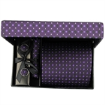 TODAYBEST®10CM Luxury Mens Business Matching Blue Stripe Tie Handkerchief & Cuff Link Boxed Six Gift Set Set TO39