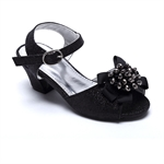 VENI MASEE® Fashion Princess Black Artificial Diamond Summer Girls Peep Toes Girls Sandals Court Shoes