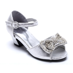VENI MASEE® Fashion Princess Silver Shining Artificial Beads Bowknot Summer Girls Peep Toes Girls Sandals Court Shoes