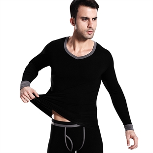 VENI MASEE® Men Modal Mixed Color V-Neck Thermal Underwear Set, Long Sleeve Vest & Long Johns, 6 Colors, Price/Set, Gift Idea
