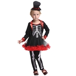VENI MASEE Girl Skeleton Cosplay Fancy Dress Halloween Costume Set,S-XL