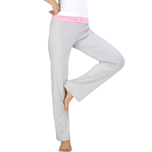 Womens Soft Elastic Waistband Fitness Yoga Long Pants, Pink+Light Grey