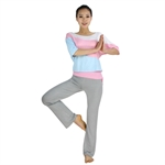 Womens Soft Loose-style Two-piece Yoga Fitness Set, Three-quarter sleeved top & Long Pants
