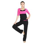 Womens Soft Fashion Two-piece Yoga Fitness Set, Three-quarter sleeved top & Long Pants