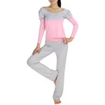 Womens Assorted-color Design Fitness Yoga/Dancing Set, Long-sleeved Top & Pants