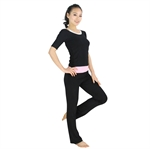 Womens Classic Style Fitness Yoga Three-piece Set, Vest/Three-quarter-sleeved Top/Pants