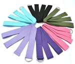 VENI MASEE Yoga Stretching Belt Durable Cotton With Metal D-ring,Various Colors