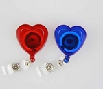 Hoter Retractable Translucent ID Card Reel/Key-ID-Badge With Metal Slide Belt Clip, Heart-Shape Style, Red