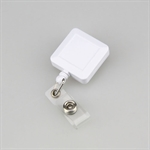 Hoter Square Retractable White Quick Clip ID Card/Badge Reel, Carabiner Style