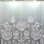 VENIMASEEChinese Style Waterproof  Shower Curtain, White Paper-Cuting Design