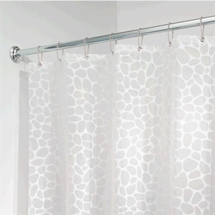 VENIMASEEEVA Waterproof Shower Curtain, White Pebbles Design, Six Different Sizes