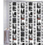 VENIMASEEClassic Style Waterproof  Shower Curtain, New York Streetscape Pattern