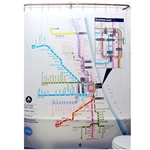 VENIMASEEEVA Waterproof Shower Curtain, Chicago Subway Map Design,183*183 CM