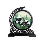 100% Handmade Double-Sided Silk Embroidery Mirabow Wooden Panda Artwork Chinese Screen Decoration Ornaments With Brocade Box-Foreign Affairs Gift/Ideal Christmas Gift