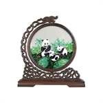100% Handmade Double-Sided Silk Embroidery Wenge Wooden Panda Artwork For Home Decoration Chinese Screen Ornaments With Brocade Box-Foreign Business Gift/Ideal Christmas Gift