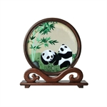 100% Handmade Double-Sided Silk Embroidery Wenge Wooden Panda Artwork Home Decoration Ornaments Chinese Screen  With Brocade Box-Foreign Business Gift/Ideal Christmas Gift