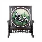 100% Handmade Double-Sided Silk Embroidery Wenge Wooden Panda Artwork Home Decoration Square Ornaments With Brocade Box-Foreign Business Gift/Ideal Christmas Gift
