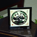 Panda Shadow Play Puppetry Handicraft Glass Frame Decorative Chinese Painting Special Ideal Christmands Gift