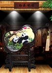 100% Handmade Chinese SuXiu Embroidery Wenge Wooden Panda Artwork Home Decoration Inclined Fan Screen Ornaments With Brocade Box-Foreign Business Gift/Ideal Christmas Gift
